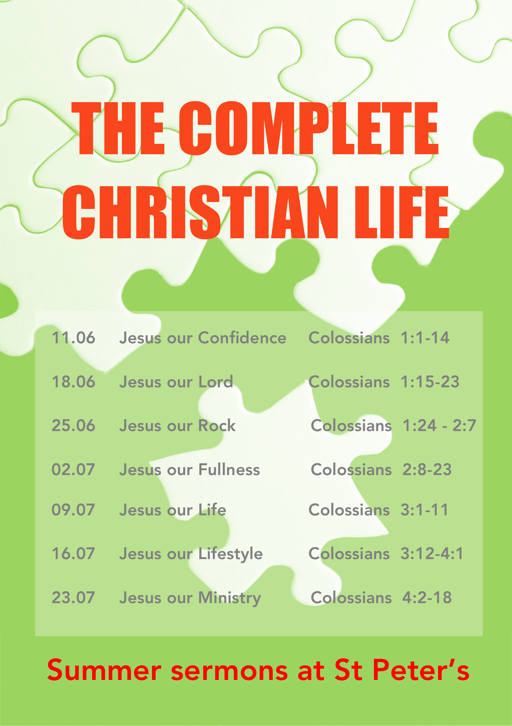 christian single men in saint peters 1230pm @ st peter's followed by bring & share lunch 12 bible fellowship @ st peter's from 7:45 pm to 9:00 pm tea & coffee followed by a look at a bible passage: 13 thursday morning prayers @ st peter's from 9:15 am to 10:00 am prayer & reading from the bible drop in @ st peter's from 10:00 am to 12:00 pm drop in for a cup of tea or coffee and a chat.